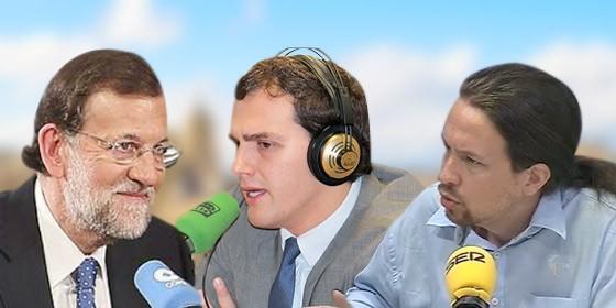 Rajoy, Rivera e Iglesias.
