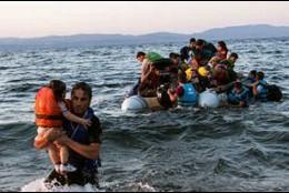 Refugiados sirios, llegando a la isla de Kos