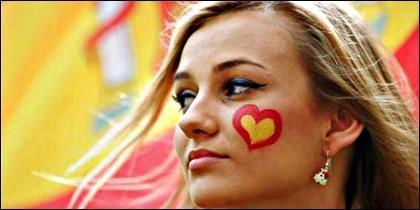 España, la bandera española, la economía y el éxito.