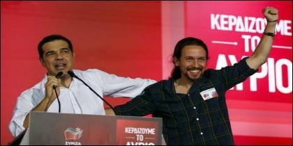 Pablo Iglesias, en el acto fin de campaña de la plaza Syntagma junto a Alexis Tsipras