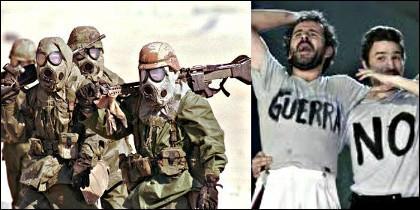 Soldados americanos en el frente de Kuwait con máscaras y equipo NBQ  en la I Guerra del Golfo y el actor Willy Toledo  manifestandose en España.