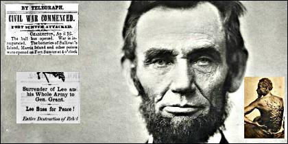 Abraham Lincoln y la noticia 'por telégrafo' del comienzo de la Guerra de Secesión el 12 de abril de 1861. En el recuadro, un esclavo y sus cicatrices.