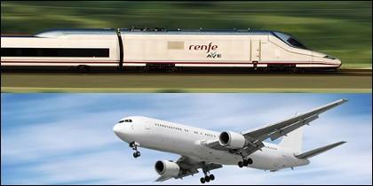AVE y avión como medios de transporte.