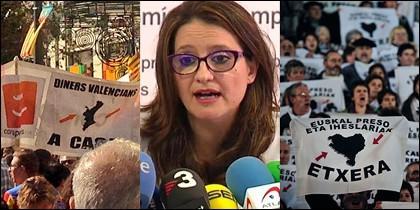Manifestantes de Compromís, su líder y simpatizantes de ETA.