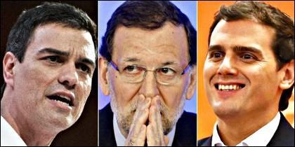 Pedro Sánchez, Mariano Rajoy y Albert Rivera.