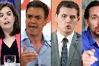 De dcha. a izda.: Pablo Iglesias, Albert Rivera, Pedros Sánchez y Soraya Sáenz de Santamaría.
