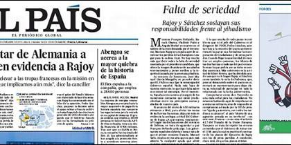 Portada y editorial de El País 26-11-2015.