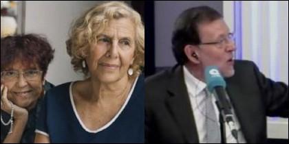 Carmena con Maruja Torres y Mariano Rajoy.