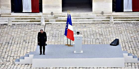 François Hollande en 'Los Inválidos', en el funeral por los asesinados en París por los terroristas islamistas.