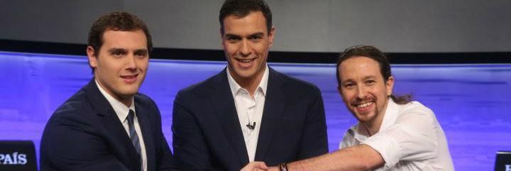 Albert Rivera, Pedro Sánchez y Pablo Iglesias en El País.