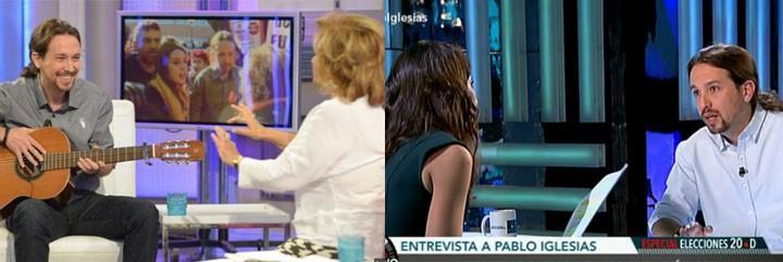 Pablo Iglesias, con María Teresa Campos (izquierda), y con Ana Pastor (derecha).