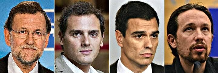 Mariano Rajoy (27,1%), Albert Rivera (21,6%), Pedro Sánchez (20%) y Pablo Iglesias (15,5%).