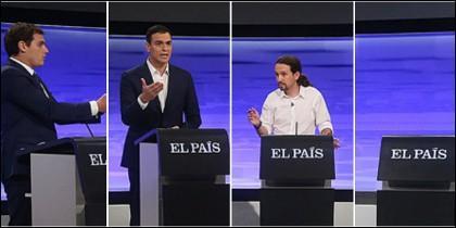 Albert Rivera, Pedro Sánchez, Pablo Iglesias y un atril vacío.