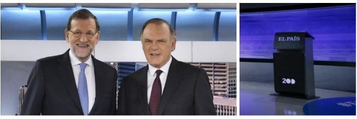 Mariano Rajoy con Pedro Piqueras y el atril vacío en el debate de El País.