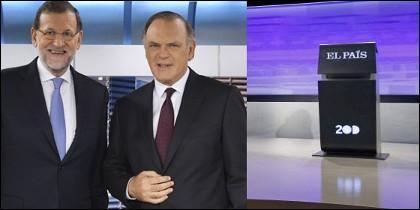 Rajoy con Pedro Piqueras y el atril vacío en el debate.
