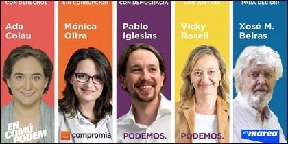 Ada Colau, Oltra, Iglesias, Rosell, Beiras.