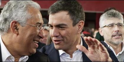 El socialista portugués António Costa y Pedro Sánchez.