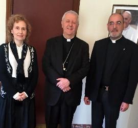 La rectora de la Upsa, con Versaldi y Jacinto Núñez
