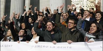 Los diputados de Podemos y de sus candidaturas satélite.