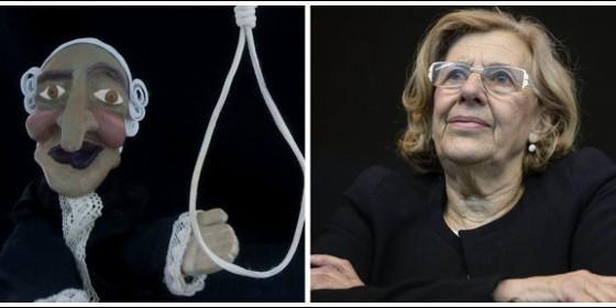 Manuela Carmena y la pancarta de los títeres que dan vivas a ETA.