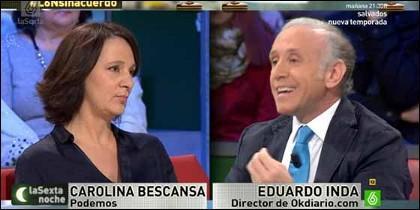 Carolina Bescansa y Eduardo Inda.