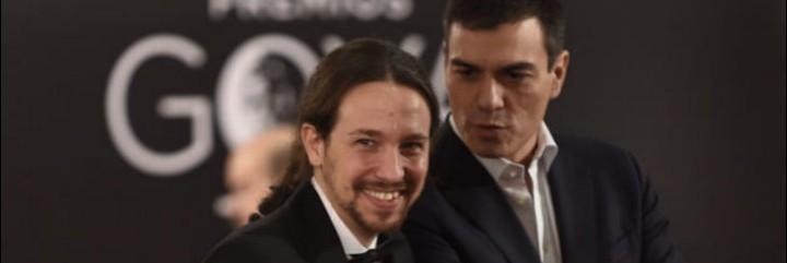 Pablo Iglesias y Pedro Sánchez en los premios Goya 2016.