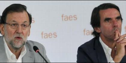 Mariano Rajoy y José María Aznar en la FAES.