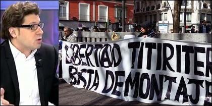 Fernando Berlín y los que piden libertad para los titiriteros.