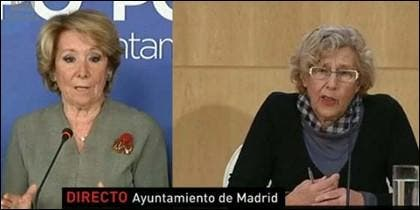 Esperanza Aguirre y Manuela Carmena.