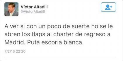 Tuit borrado por Víctor Altadill.