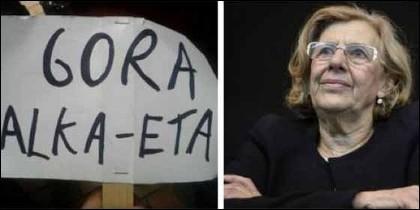 Carmena y la pancarta de marras.