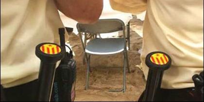 Porras con la bandera estelada en Cataluña.