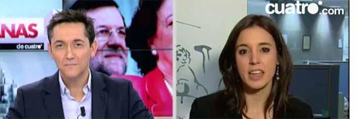 Javier Ruiz e Irene Montero.
