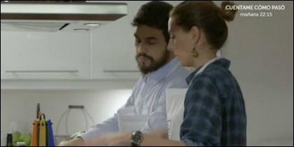 Mario Casas y la mujer de Bertín.