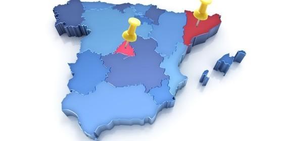 España, CC.AA, Madrid, Cataluña y resto de Comunidades Autónomas.