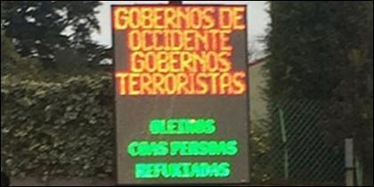 El cartel luminoso de Oleiros.