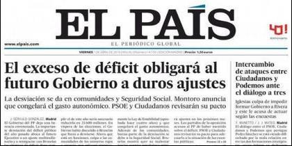 Logo y portada de 'El País' del 1 de abril de 2016.