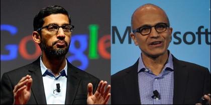 Sundar Pichai (Google CEO) y Satya Nadella (Microsoft CEO).