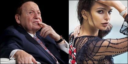 Sheldon Adelson y Emily Ratajkowski.