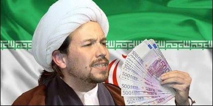 Pablo Iglesias, caracterizado de ayatolá y con 'fondos iraníes'.