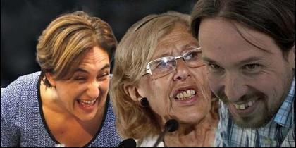Ada Colau, Manuela Carmena y Pablo Iglesias (PODEMOS).