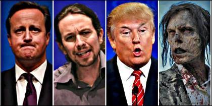 David Cameron, Pablo Iglesias, Donald Trump y un zombi.