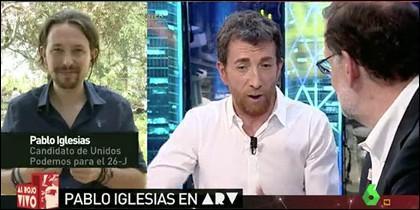 Pablo Iglesias y Pablo Motos con Rajoy.
