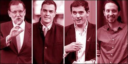 Rajoy, Sánchez, Rivera e Iglesias con cara de haber escuchado un chiste verde.