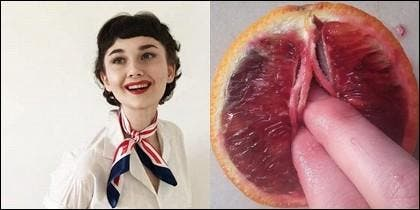Stephanie Sarley y una naranja roja.