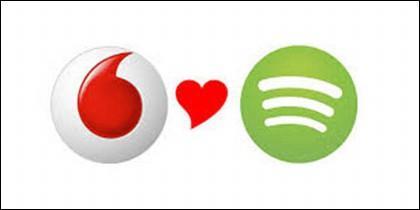 Los logos de Vodafone y Spotify.