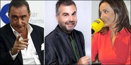 Carlos Herrera, Carlos Alsina y Pepa Bueno.
