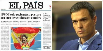 Portada de El País del 22 de agosto 2016 y Pedro Sánchez.