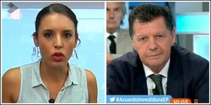 Irene Montero y Alfonso Rojo en Espejo Público.