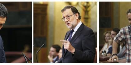 Pedro Sánchez, Mariano Rajoy y Pablo Iglesias.